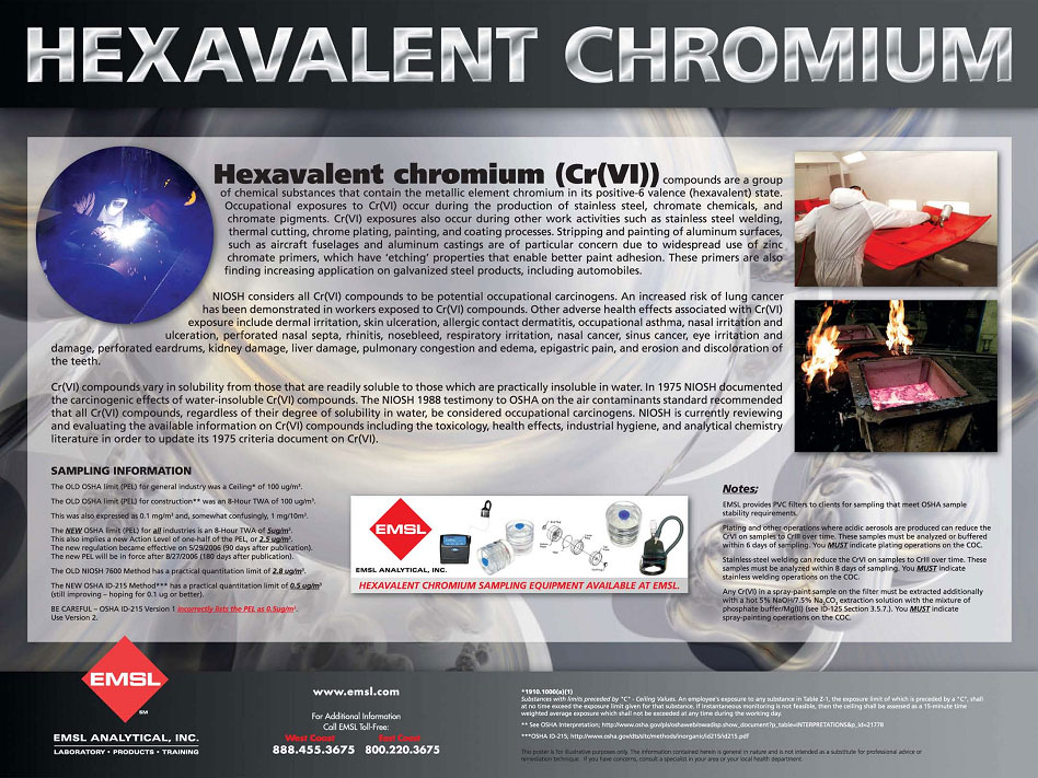hexavalent chromium The most common forms of chromium that occur in natural waters in  trivalent  chromium (chromium-3) hexavalent chromium (chromium-6.